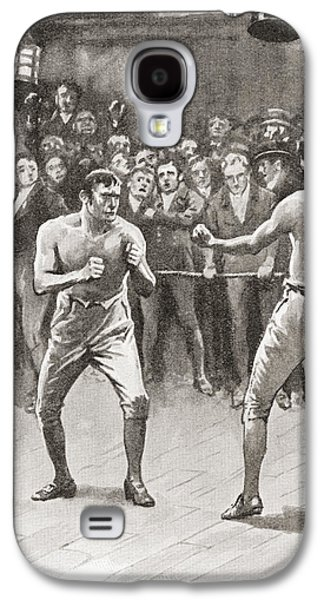 Boxer Drawings Galaxy S4 Cases - Bare-knuckle Boxing In The 19th Galaxy S4 Case by Vintage Design Pics