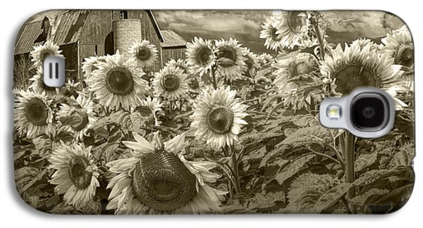 Selenium Galaxy S4 Cases - Barn and Sunflowers in Sepia Tone Galaxy S4 Case by Randall Nyhof
