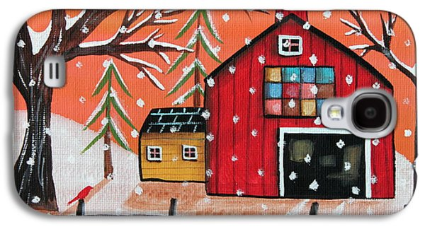 Winter Scene Paintings Galaxy S4 Cases - Barn Quilt Galaxy S4 Case by Karla Gerard