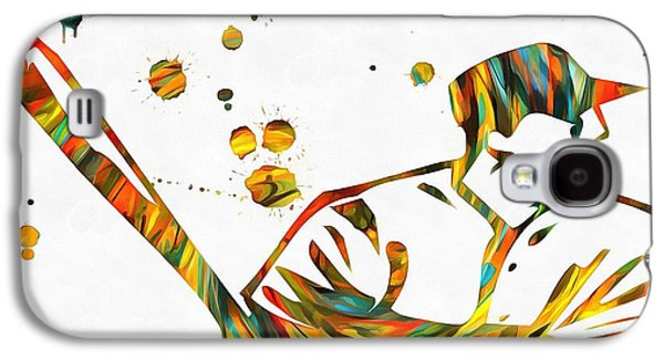 Slam Galaxy S4 Cases - Baseball Player Paint Splatter Galaxy S4 Case by Dan Sproul