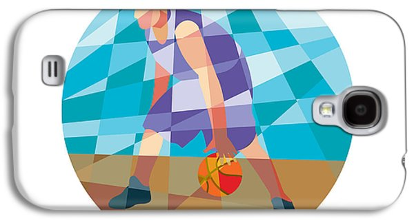 Basketball Player Dribbling Ball Circle Low Polygon Galaxy S4 Case by Aloysius Patrimonio