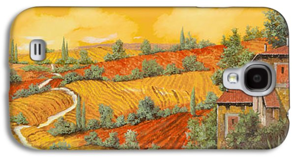 Village Paintings Galaxy S4 Cases - Bassa Toscana Galaxy S4 Case by Guido Borelli