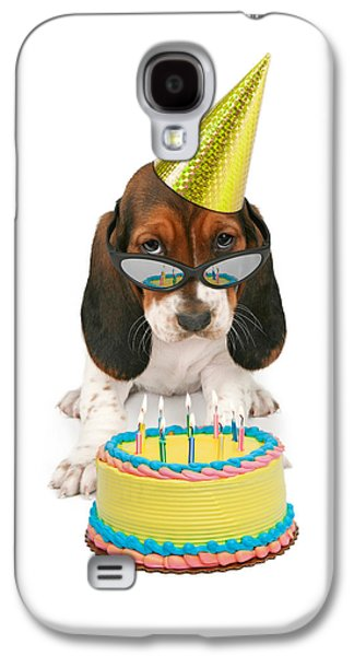 Party Birthday Party Galaxy S4 Cases - Basset Hound Puppy Wearing Sunglasses  Galaxy S4 Case by Susan  Schmitz