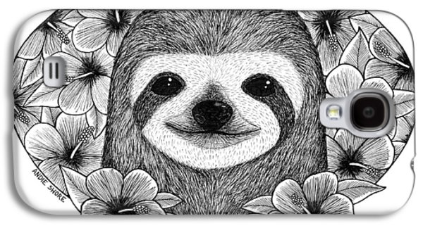 Sloth Drawings Galaxy S4 Cases - Bathing in flowers Galaxy S4 Case by Andie Shore