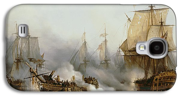 Historic Ship Galaxy S4 Cases - Battle of Trafalgar Galaxy S4 Case by Louis Philippe Crepin