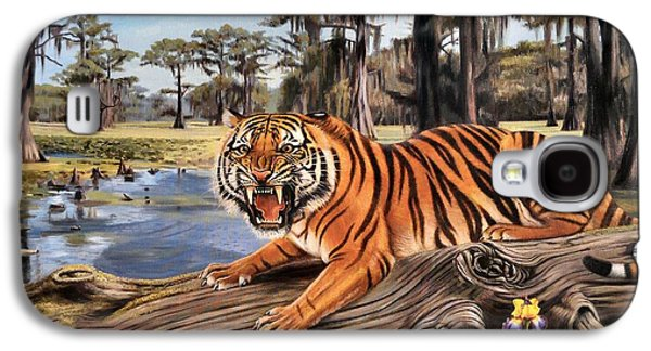The Tiger Paintings Galaxy S4 Cases - Bayou Mike Of Louisiana Galaxy S4 Case by Mike Roberts