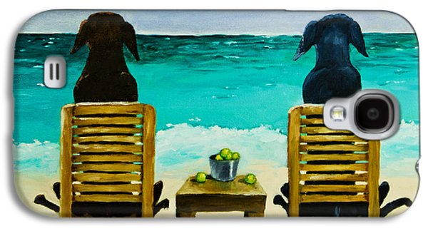 Dog Paintings Galaxy S4 Cases - Beach Bums Galaxy S4 Case by Roger Wedegis