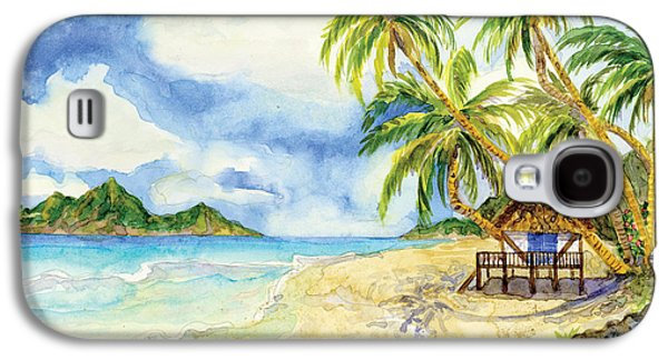 Beach Towel Galaxy S4 Cases - Beach House Cottage on a Caribbean Beach Galaxy S4 Case by Audrey Jeanne Roberts