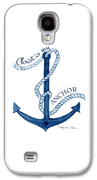 My Ocean Galaxy S4 Cases - Beach House Nautical Ship Christ is my Anchor Galaxy S4 Case by Audrey Jeanne Roberts