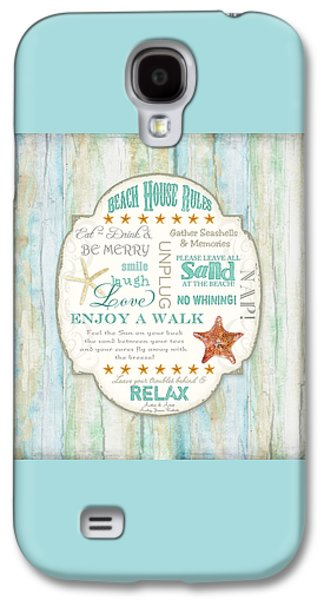 Beach House Rules - Refreshing Shore Typography Galaxy S4 Case by Audrey Jeanne Roberts