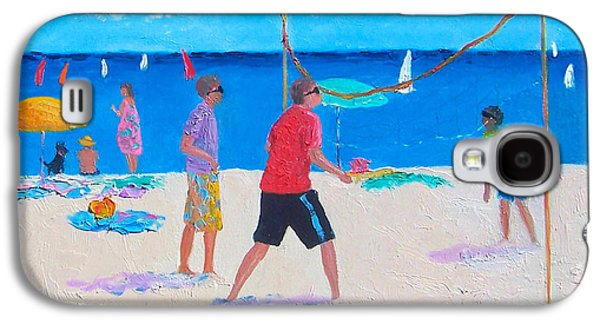 Volley Galaxy S4 Cases - Beach Painting Beach Volleyball  by Jan Matson Galaxy S4 Case by Jan Matson