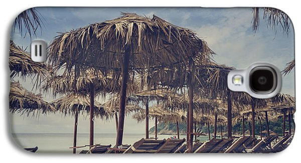 Chair Pyrography Galaxy S4 Cases - Beach Parasols Galaxy S4 Case by Jelena Jovanovic
