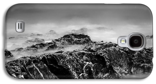 Beach Rocks And Surf In Mono Galaxy S4 Case by Georgia Fowler
