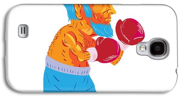 Bearded Boxer Boxing Cartoon Wpa Galaxy S4 Case by Aloysius Patrimonio