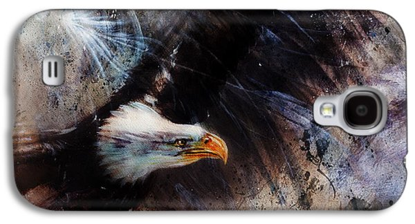 Black Bird.flying Paintings Galaxy S4 Cases - Beautiful Airbrush Eagles On An Abstract Background One Stretching His Black Wings To Fly Galaxy S4 Case by Jozef Klopacka