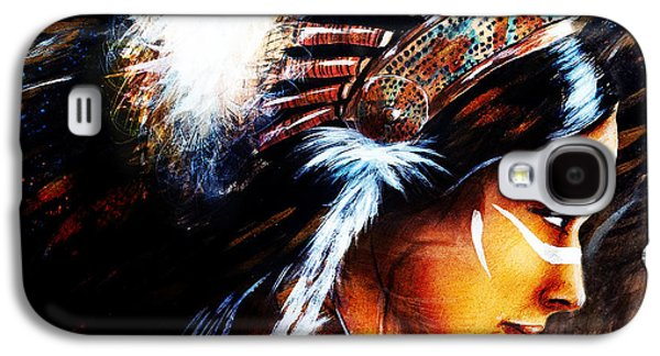 Native American Spirit Portrait Paintings Galaxy S4 Cases - Beautiful Airbrush Painting Of A Young Indian Woman Wearing  Galaxy S4 Case by Jozef Klopacka