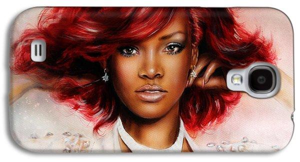 beautiful airbrush portrait of RihanA beautiful airbrush portrait of Rihanna with red hair and a fac Galaxy S4 Case by Jozef Klopacka