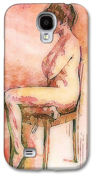 Earth Tones Drawings Galaxy S4 Cases - Beautiful Nude Woman Galaxy S4 Case by John Malone