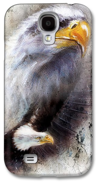 Black Bird.flying Art Paintings Galaxy S4 Cases - Beautiful Painting Of A Two  Eagles On An Abstract Textured  Ba Galaxy S4 Case by Jozef Klopacka