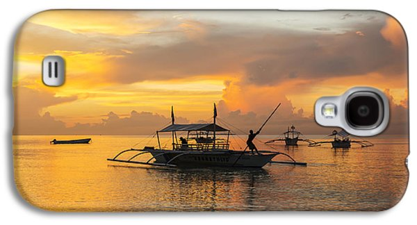 Boats In Reflecting Water Galaxy S4 Cases - Beautiful Sunrise In Alona Beach, A Man Galaxy S4 Case by Luis Martinez