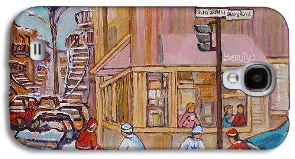 Streethockey Paintings Galaxy S4 Cases - Beautys Restaurant  Galaxy S4 Case by Carole Spandau