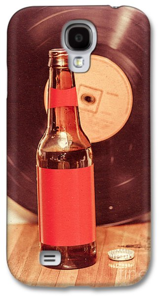 Beer Bottle On Bar Counter Top With Vinyl Record Galaxy S4 Case by Jorgo Photography - Wall Art Gallery