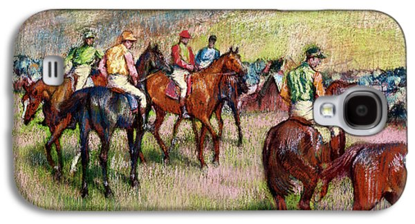 Jockeys Galaxy S4 Cases - Before the Race Galaxy S4 Case by Edgar Degas