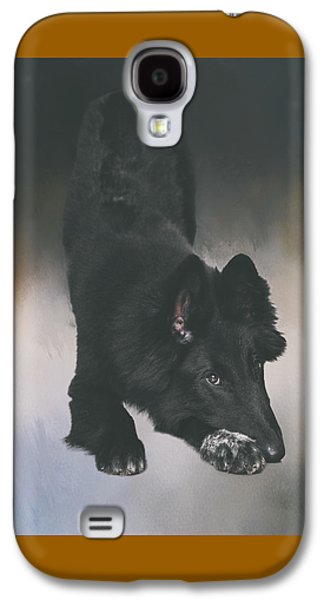 Working Dog Galaxy S4 Cases - Belgian Sheepdog Puppy Art Galaxy S4 Case by Wolf Shadow  Photography