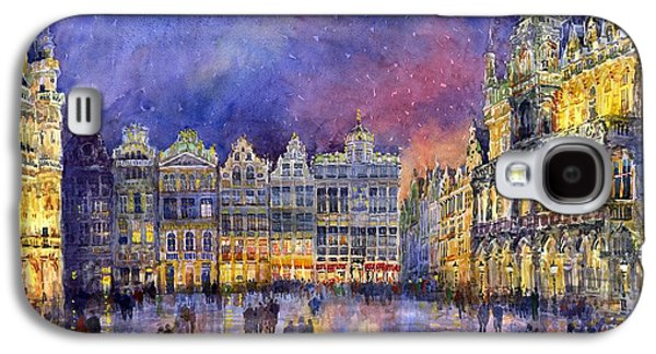 Watercolour Galaxy S4 Cases - Belgium Brussel Grand Place Grote Markt Galaxy S4 Case by Yuriy  Shevchuk