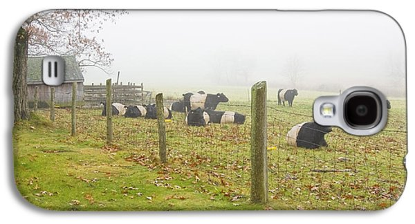 Maine Meadow Galaxy S4 Cases - Belted Galloway Cows Farm Rockport Maine Photograph Galaxy S4 Case by Keith Webber Jr