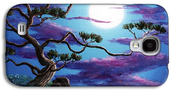 Mystical Landscape Paintings Galaxy S4 Cases - Bent Pine Tree at Moonrise Galaxy S4 Case by Laura Iverson