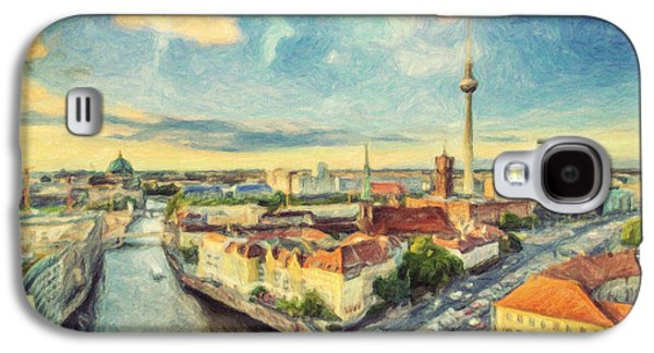 Berlin Germany Paintings Galaxy S4 Cases - Berlin Skyline Galaxy S4 Case by Taylan Soyturk