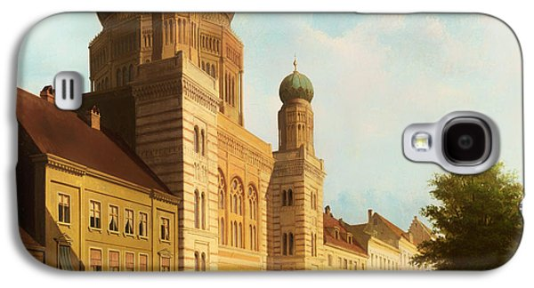 Berlin Germany Paintings Galaxy S4 Cases - Berlin Synagogue On Oranienburger Street Galaxy S4 Case by Emil Pierre Joseph De Cauwer
