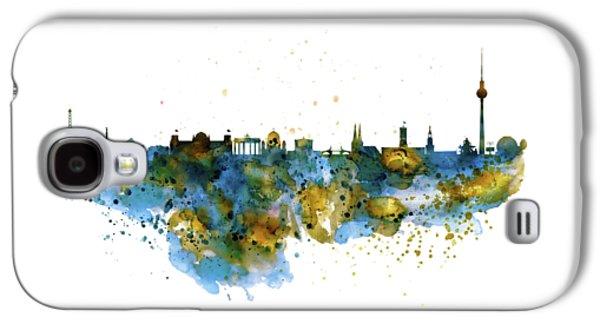 Berlin Watercolor Skyline Galaxy S4 Case by Marian Voicu