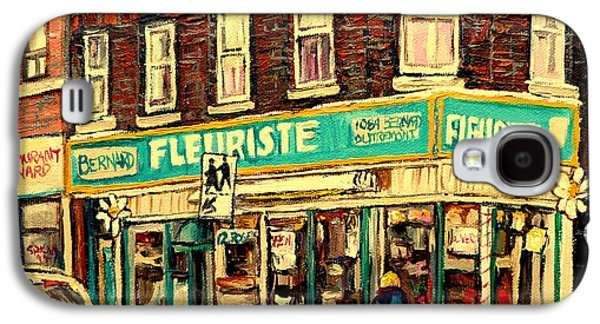 Montreal Storefronts Paintings Galaxy S4 Cases - Bernard Florist Galaxy S4 Case by Carole Spandau