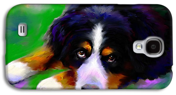 Breeds Galaxy S4 Cases - Bernese mountain dog portrait print Galaxy S4 Case by Svetlana Novikova