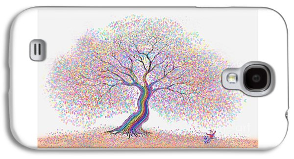 Puppy Digital Art Galaxy S4 Cases - Best Friends Under the Rainbow Tree of Dreams Galaxy S4 Case by Nick Gustafson