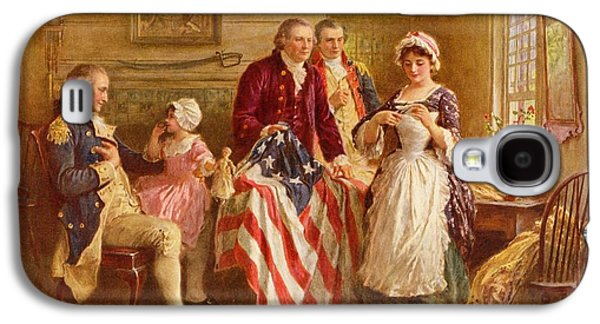 4th July Paintings Galaxy S4 Cases - Betsy Ross 1777 Galaxy S4 Case by Jean Leon Gerome Ferris