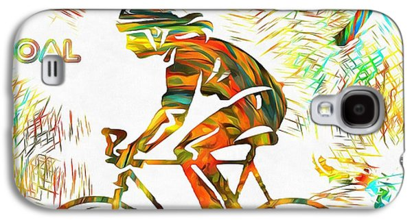 Bicyclist Goal Painting Galaxy S4 Case by Dan Sproul