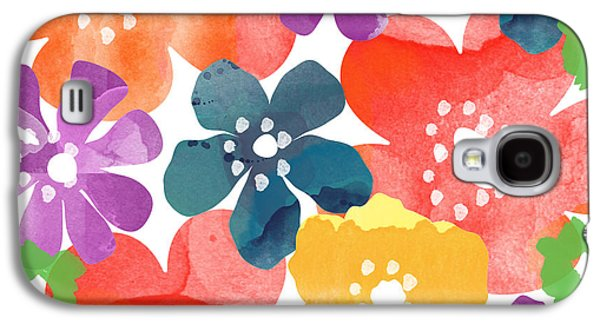 Patterned Mixed Media Galaxy S4 Cases - Big Bright Flowers Galaxy S4 Case by Linda Woods
