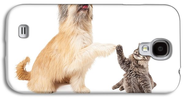 Raising Galaxy S4 Cases - Big Dog and Little Cat High Five Galaxy S4 Case by Susan  Schmitz