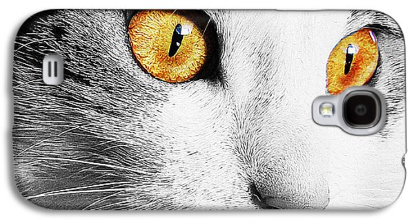 Digital Galaxy S4 Cases - Big eyes on cat face Galaxy S4 Case by Queso Espinosa