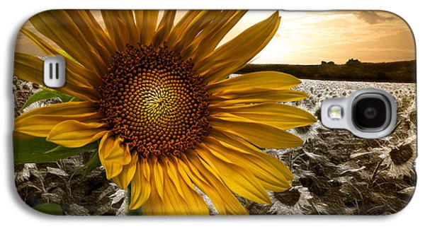 Sunset Abstract Galaxy S4 Cases - Big Sun Galaxy S4 Case by Debra and Dave Vanderlaan