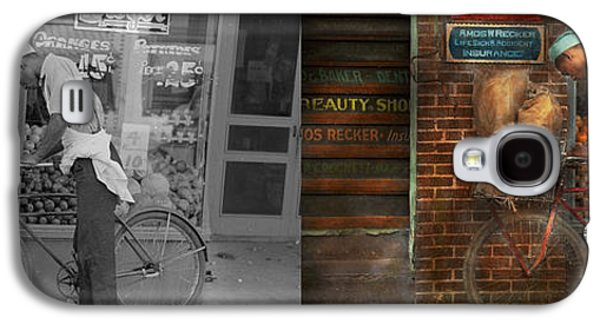 African-american Galaxy S4 Cases - Bike - Delivering groceries 1938 - Side by Side Galaxy S4 Case by Mike Savad