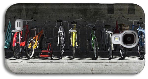 Multicolored Digital Galaxy S4 Cases - Bike Rack Galaxy S4 Case by Cynthia Decker