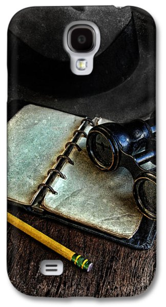Old Objects Galaxy S4 Cases - Binoculars Fedora and Notebook Galaxy S4 Case by Jill Battaglia