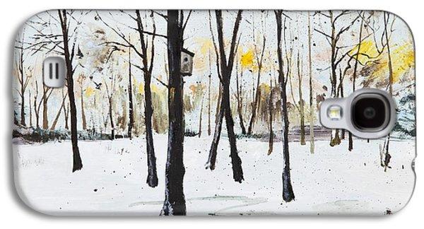 Winter Wonderland Paintings Galaxy S4 Cases - Bird Box Study Galaxy S4 Case by Calum McClure