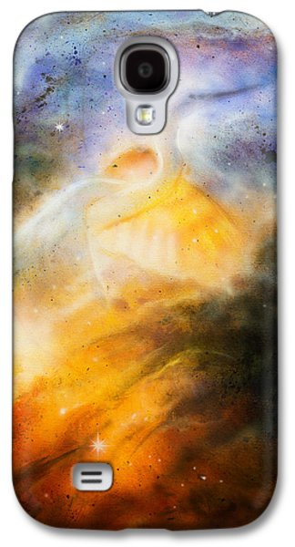 Constellations Paintings Galaxy S4 Cases - Bird  Heron in beautiful space airbrush paintin on canvas Galaxy S4 Case by Jozef Klopacka