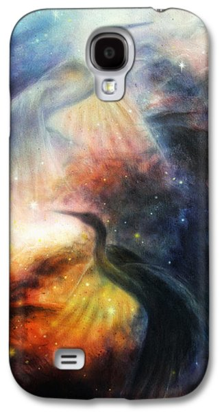 Constellations Paintings Galaxy S4 Cases - Bird  Heron in beautiful space airbrush painting Galaxy S4 Case by Jozef Klopacka