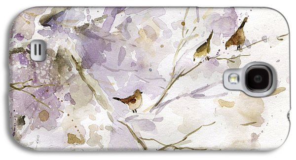 Group Of Birds Paintings Galaxy S4 Cases - Bird in the Bush 1 Galaxy S4 Case by Carol Robinson